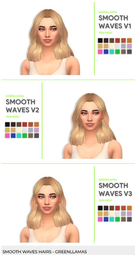 Smooth Waves v1-v3 by greenllamas via tumblr   Female - Hair