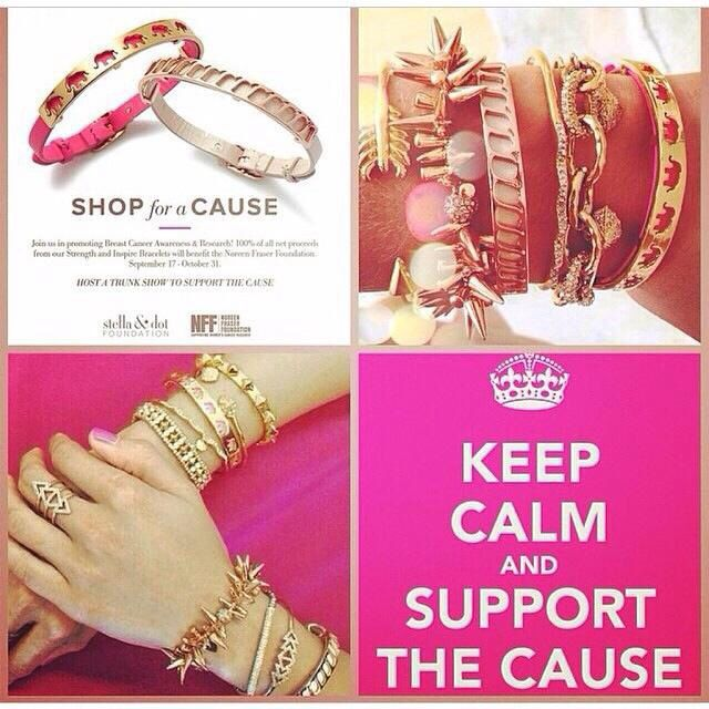 So many ways to wear our breast cancer awareness bracelets. Get yours at stelladot.com/cortneyjones and help the cause.