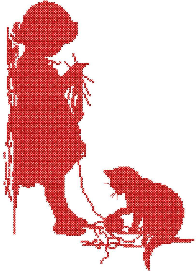 Girl And Kitty Cross Stitch Free Embroidery Design Cross Stitch