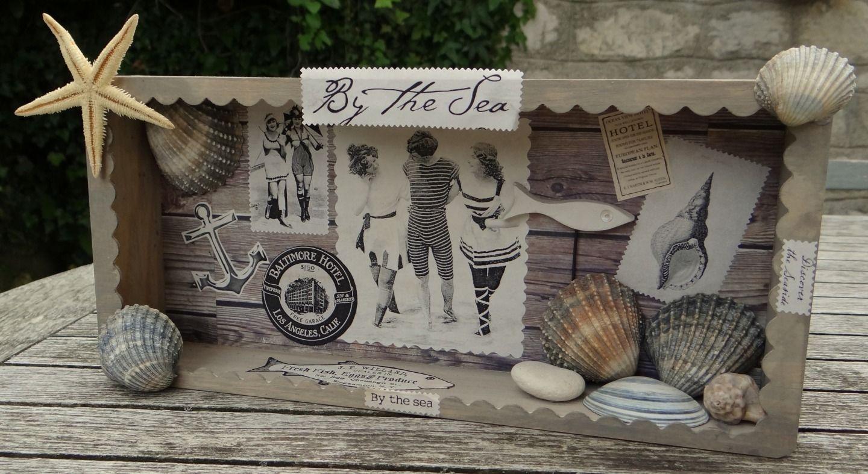 tableau decoratif bois vintage beach esprit retro bord. Black Bedroom Furniture Sets. Home Design Ideas
