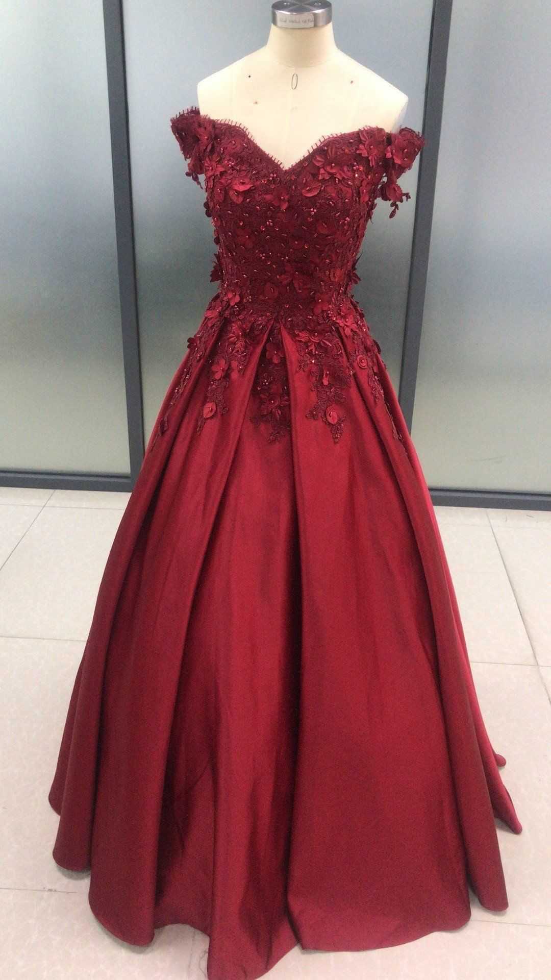 Dark Red Satin With Lace Applique Ball Gown Formal Dress Prom Dress 2020 Prom Dresses Ball Gown Ball Gowns Lace Evening Dresses [ 1920 x 1080 Pixel ]