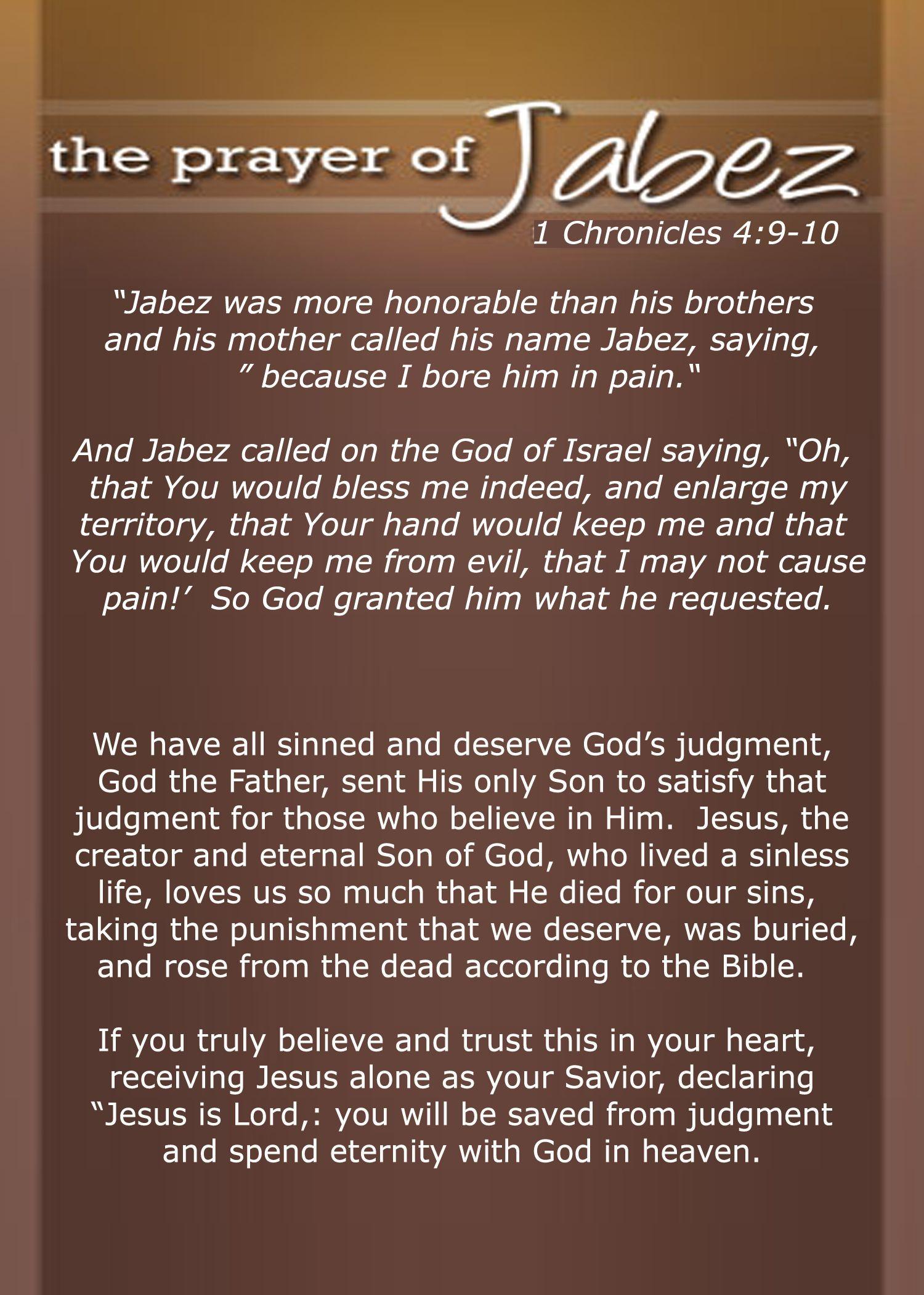The Prayer of Jabez, 1 Chronicles 4:9-10 | Scriptures | Prayer