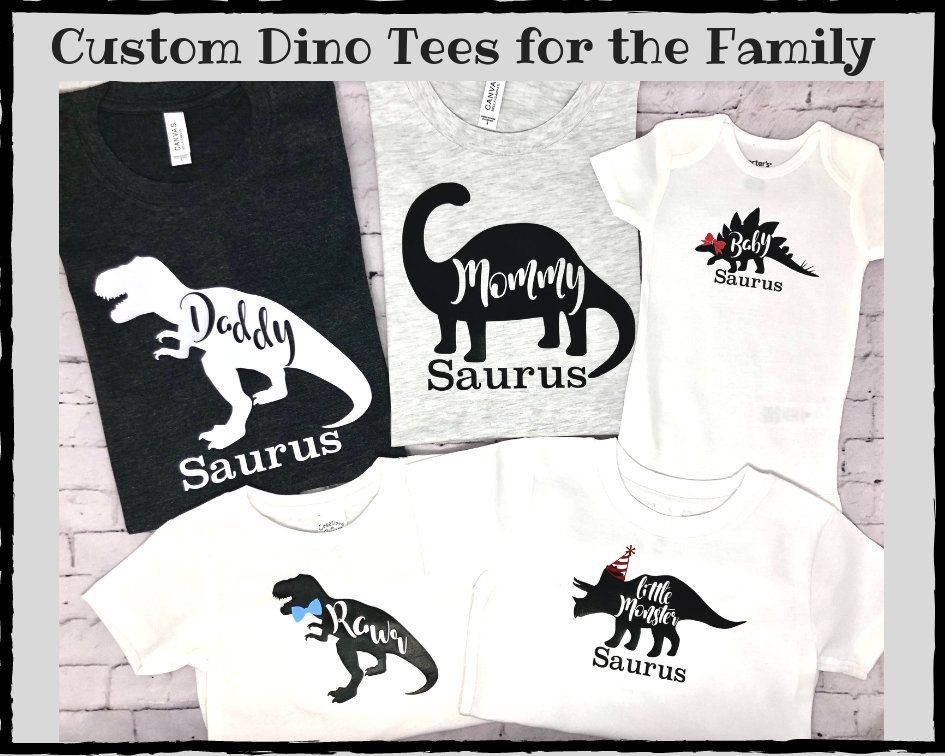 First Birthday Dinosaur Family Shirts, Dinosaur First