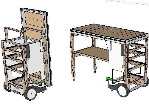 Festool Mft Modded Into Awesome Jobsite Cart Awesome Cart Festool Jobsite Mft Modded Tools Multifunktionswerkzeug Mobile Werkbank Werkbank