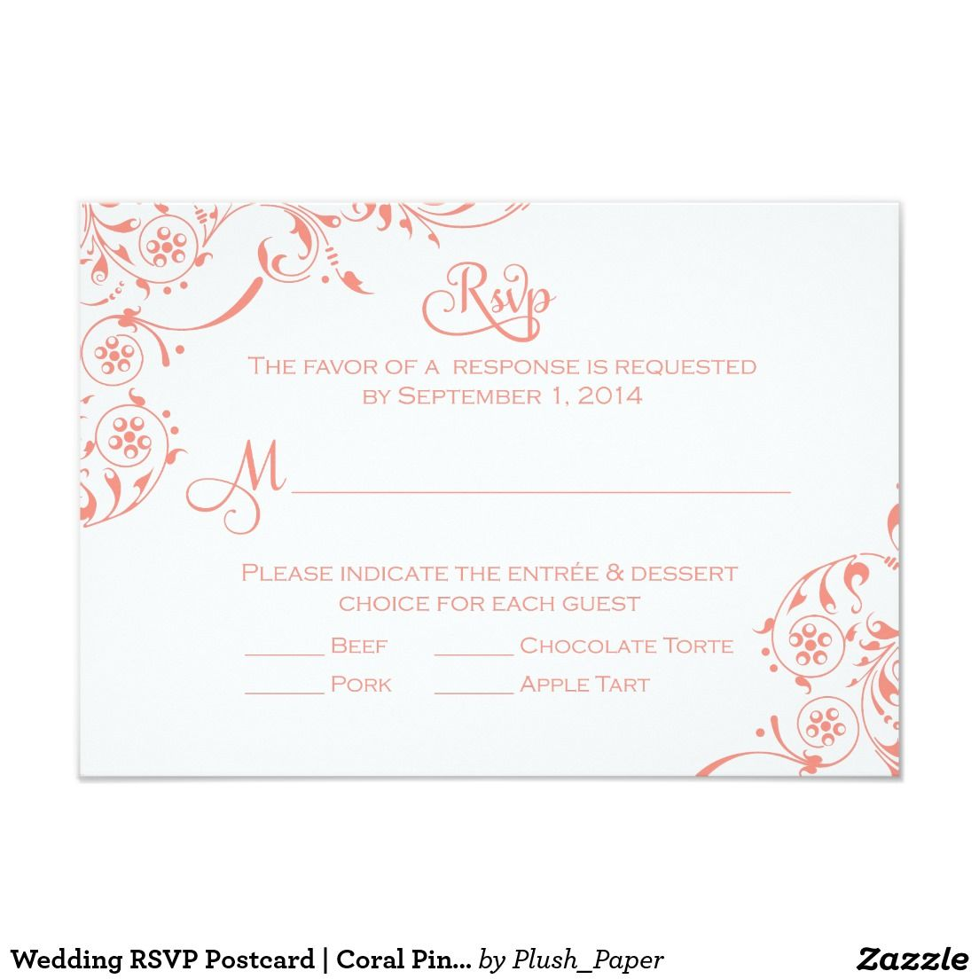 Wedding RSVP Postcard | Coral Pink Scroll | Wedding rsvp, Rsvp and ...