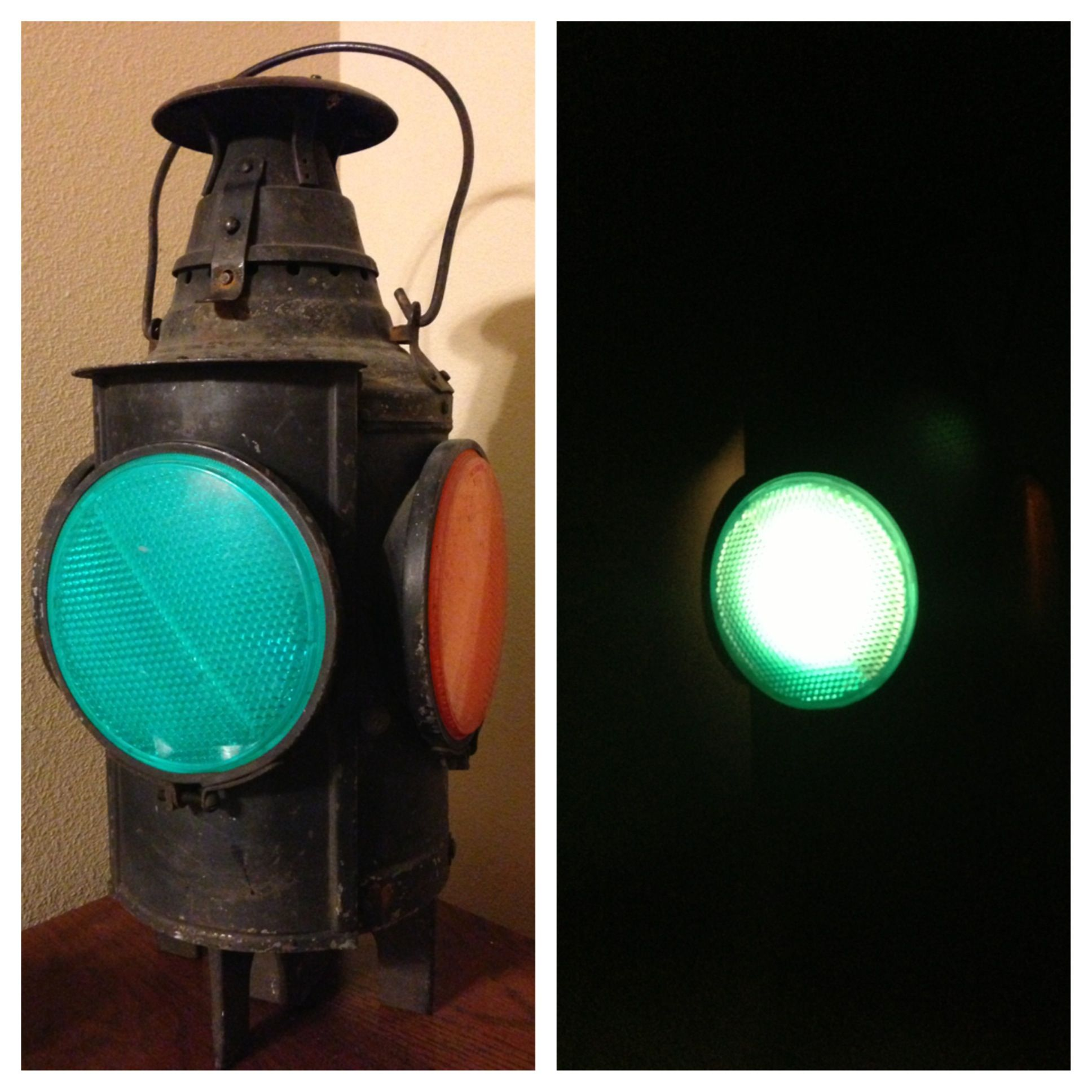Vintage 1940s railroad lantern for my sons train themed room put vintage 1940s railroad lantern for my sons train themed room put a led light in arubaitofo Image collections