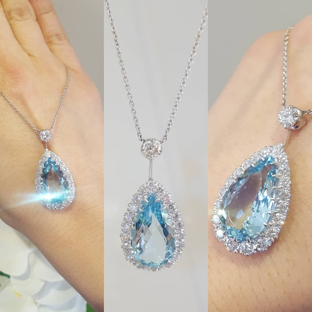 ac.silver Carrying on our breath taking pear cut aquamarine and diamond necklace - truly stunning