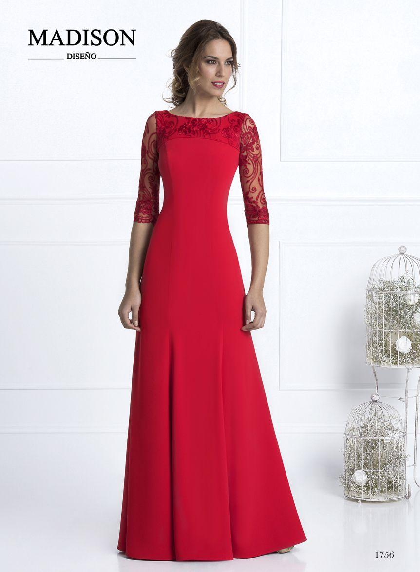 4601e15d190  vestidofiesta  Madison confeccionado en crepe rojo y tul bordado.  madrinas   bodas  invitadas  moda  fashion
