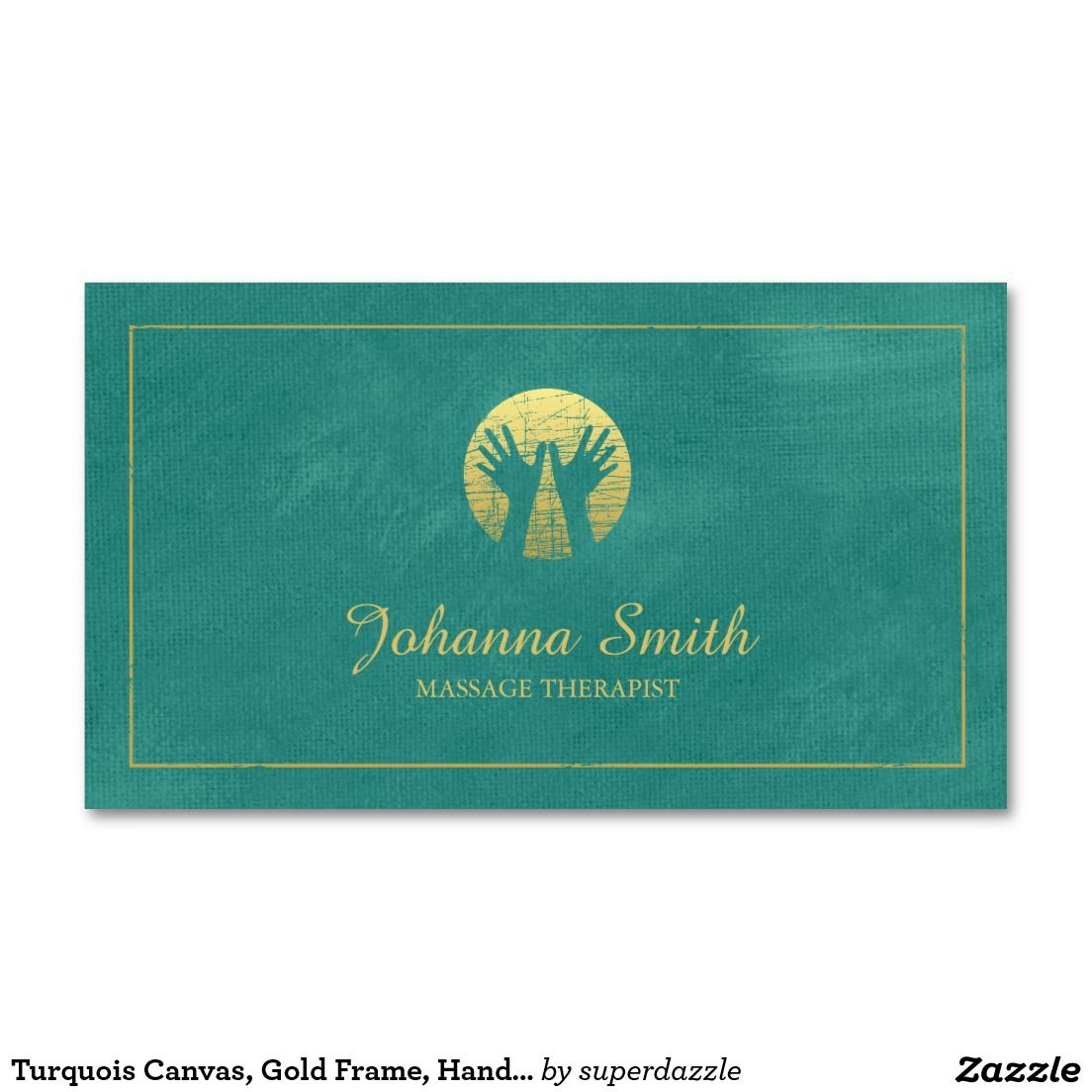 Turquois Canvas, Gold Frame, Hands Massage Therapy Appointment Card ...