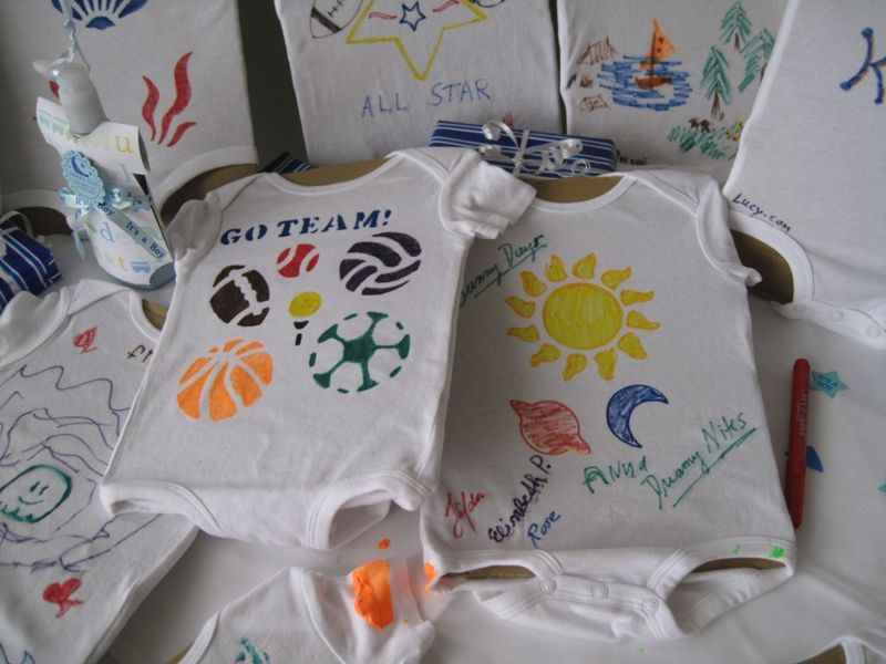 Baby Shower Onesie Decorating Ideas | Look How Cute These Boy Onesies Are.  You Can