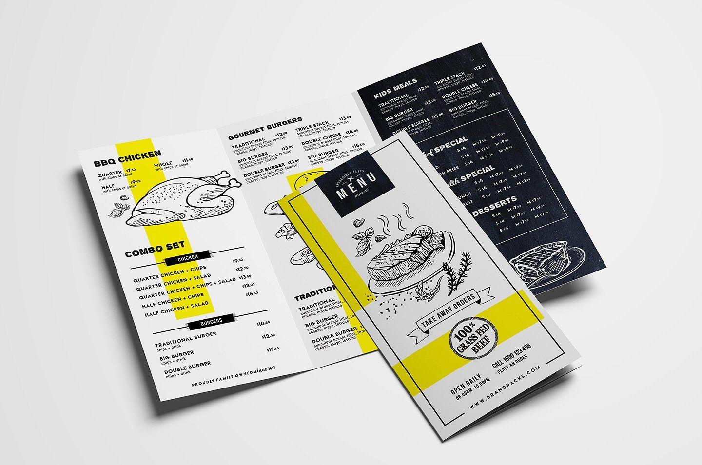 tri fold menu template matter lists minutes menus graphics design