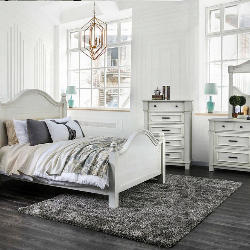 Daria Antique White Wood Queen Bed By Furniture Of America 577 00 Stylish Beds Furniture Of America Bedroom Set