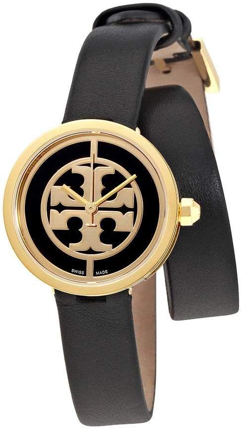 1938f393b Tory Burch Reva Black Dial Wrap Around Leather Ladies Watch 4019 ...