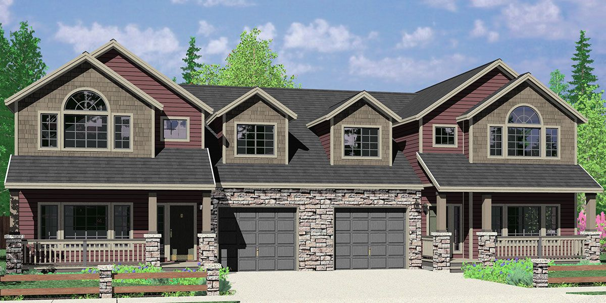 D 609 Craftsman Luxury Duplex House Plans With Basement And Shop D 609 Craftsman Style House Plans Craftsman House Plans Courtyard House Plans