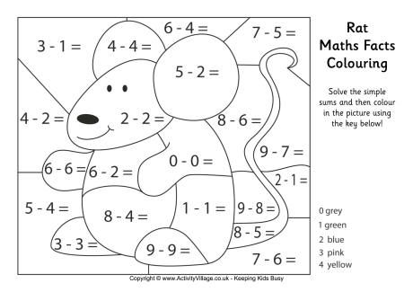 Rat Maths Facts Colouring Page Math Coloring Math Addition Worksheets Math Facts