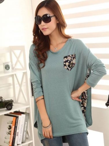 Leisure Batwing Sleeve Pure Color Classic Floral Print Green on DressLuck.com