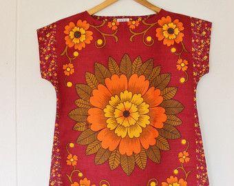 d4538917ef Upcycled Linen Tea Towel Top Shirt Women Vintage Retro Orange Aqua ...