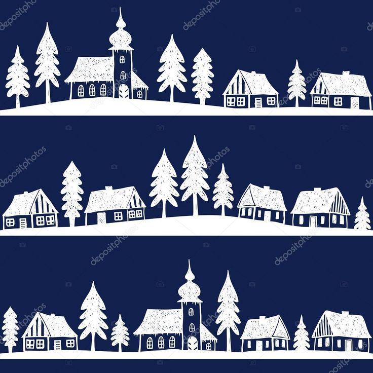 Herunterladen Weihnachtsdorf Mit Kirche Stockillustration