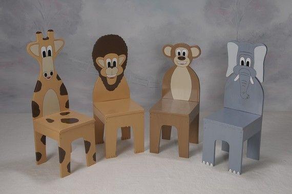 iChart Kids Four Chair Set  Safari Aminal Theme  by ichart on Etsy, $150.00