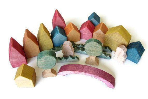 Little Wooden Rainbow Village - Tiny Wooden Village - Miniature Village. £25.00, via Etsy.