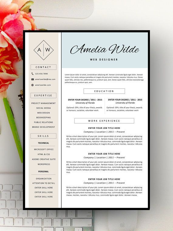 Creative Resume Template Modern Resume Design For Word   Resume
