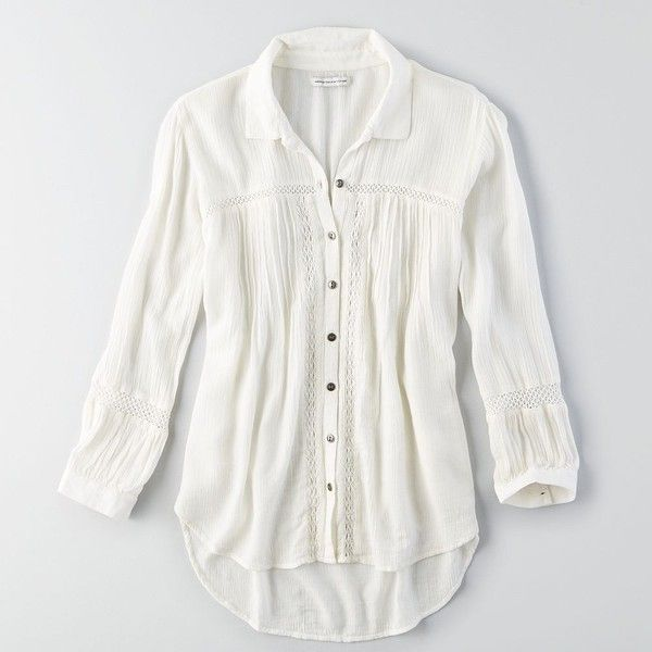 5fd40804 American Eagle Pintucked Button Down Shirt ($40) ❤ liked on Polyvore  featuring tops, shirts, ivory, shirts & tops, gauze tops, white shirt, white  gauze ...