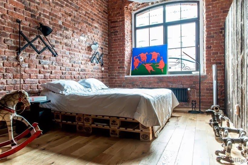 bedroom in industrial interior design duplex apartment in moscow