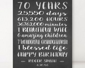 70th BIRTHDAY GIFT Birthday Sign Canvas Personalized Gift For
