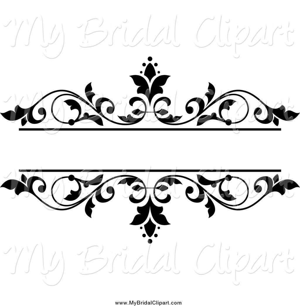 Vector Marriage Clipart Of A Black And White Fl Wedding Frame By Tradition Sm