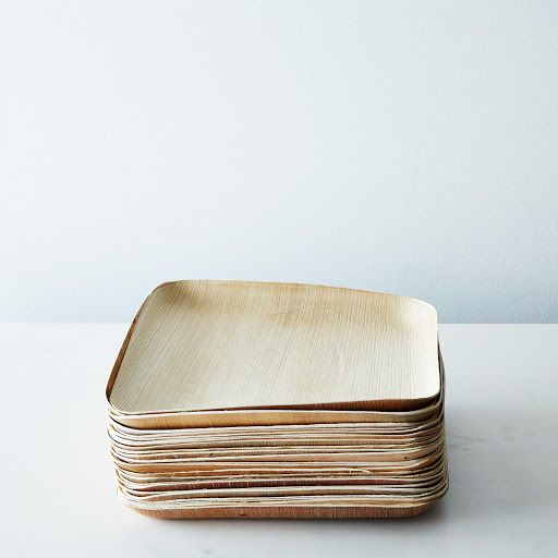Large Compostable Wooden Plates (Set of 25) & Large Compostable Wooden Plates (Set of 25) | Palm leaf plates ...