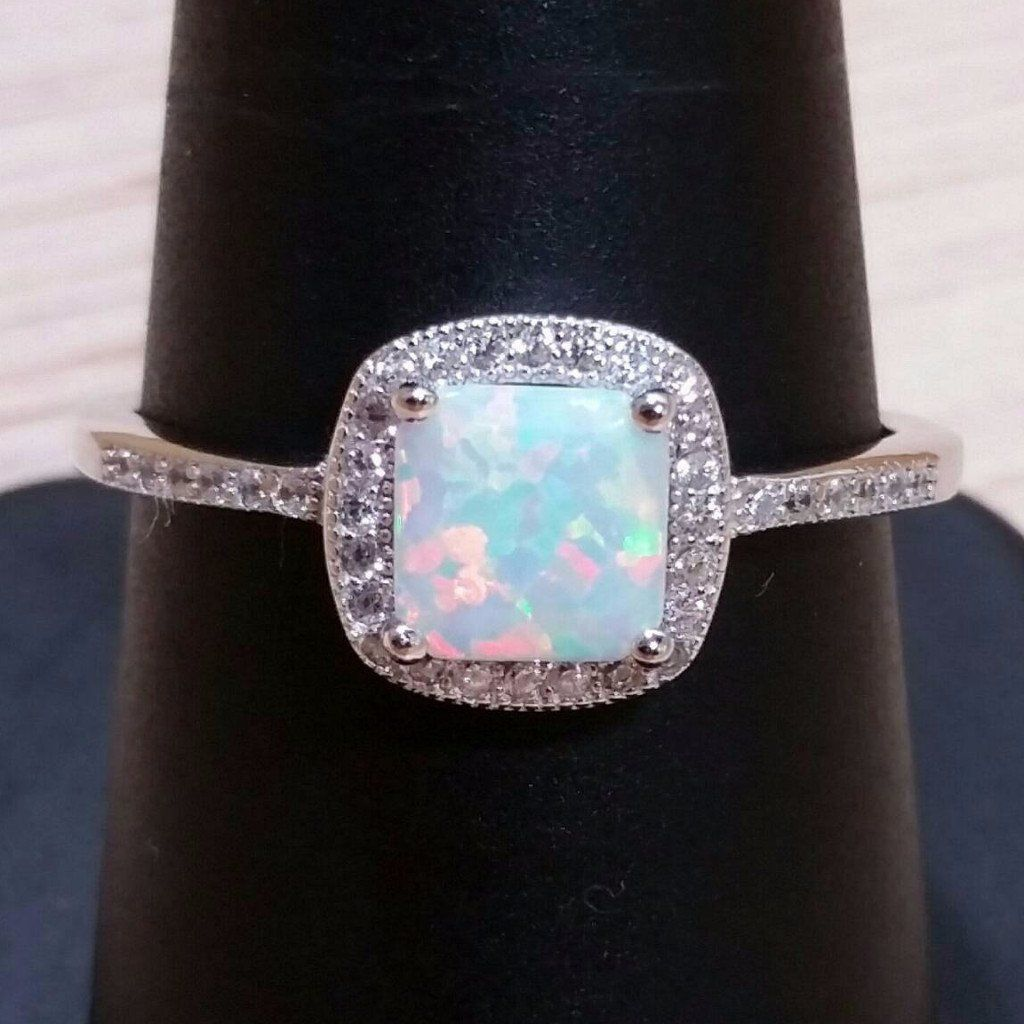 Sterling Silver Pink Opalite 5 Square Stone Ring