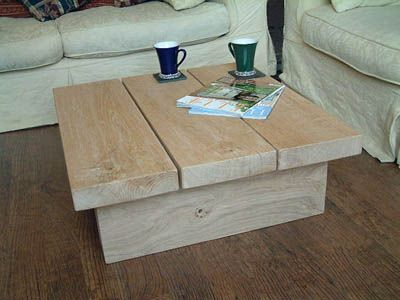 Solid Light Oak Square Coffee Table Coffee Table