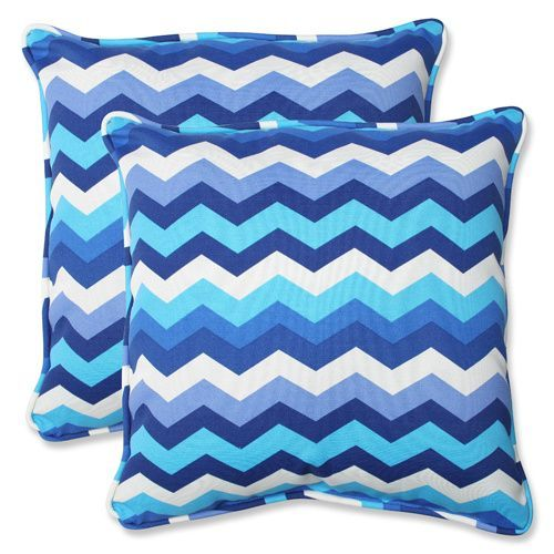 Pillow Perfect Blue Outdoor Panama Wave Azure 18 5 Inch Throw Pillow Set Of 2 541402 Bellacor Outdoor Decorative Pillows Decorative Throw Pillow Sets Outdoor Cushions And Pillows