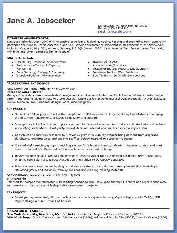 Database Administrator Resume Sample Creative Resume Design - sample resume for database administrator