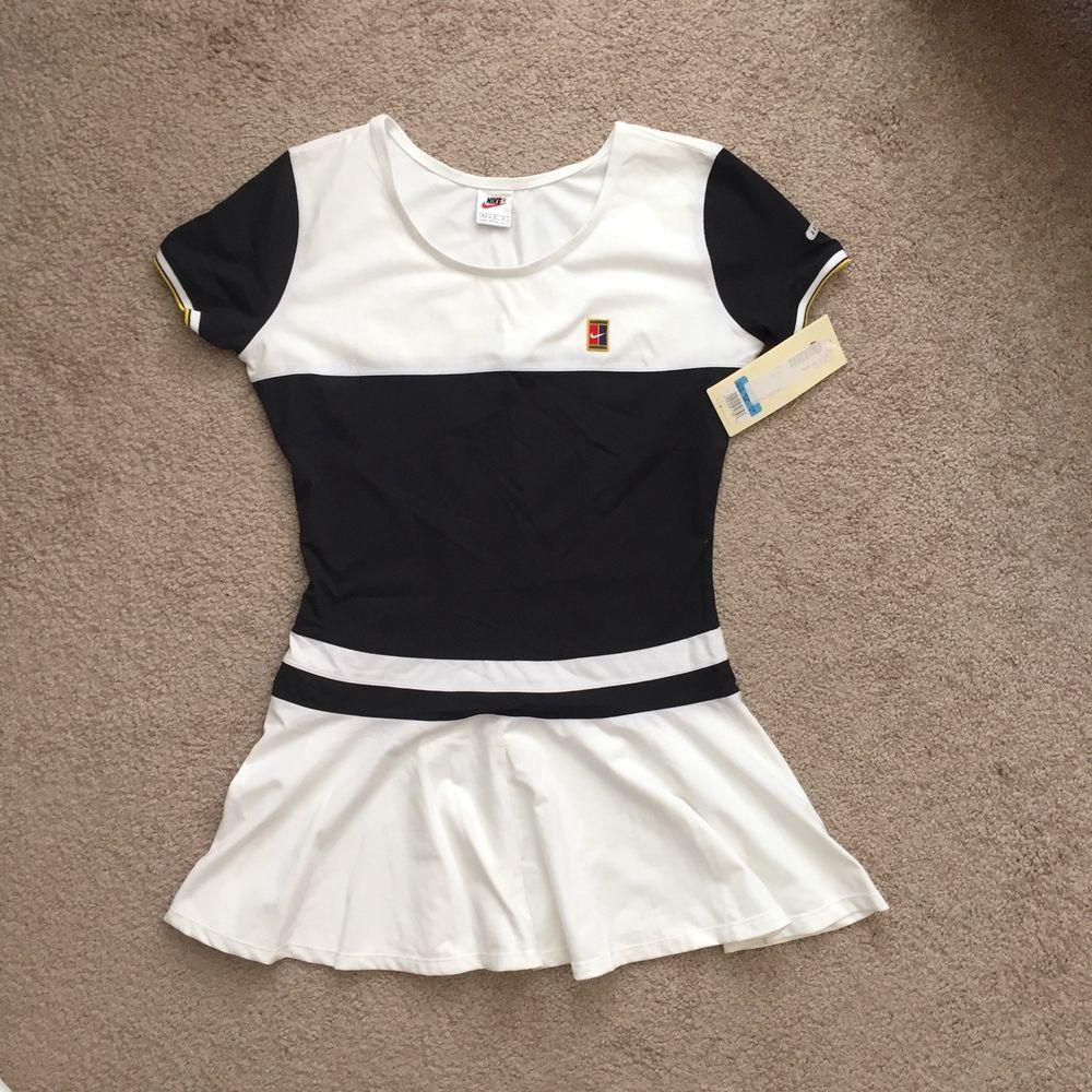 New Vintage 90s Nike Court Dri Fit Womens Tennis Dress White Black Medium 8 10 Nike Tennisdress