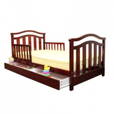 Dream On Me Elora Toddler Bed With Storage Drawer In Cherry 650 C Toddler Bed With Storage Toddler Bed Bed With Drawers