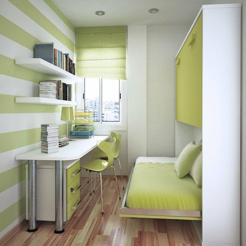 Wohnideen Für Kleine Räume Schlafzimmer praktische wohnidee für schmale räume mit klappbett arbeitszimmer