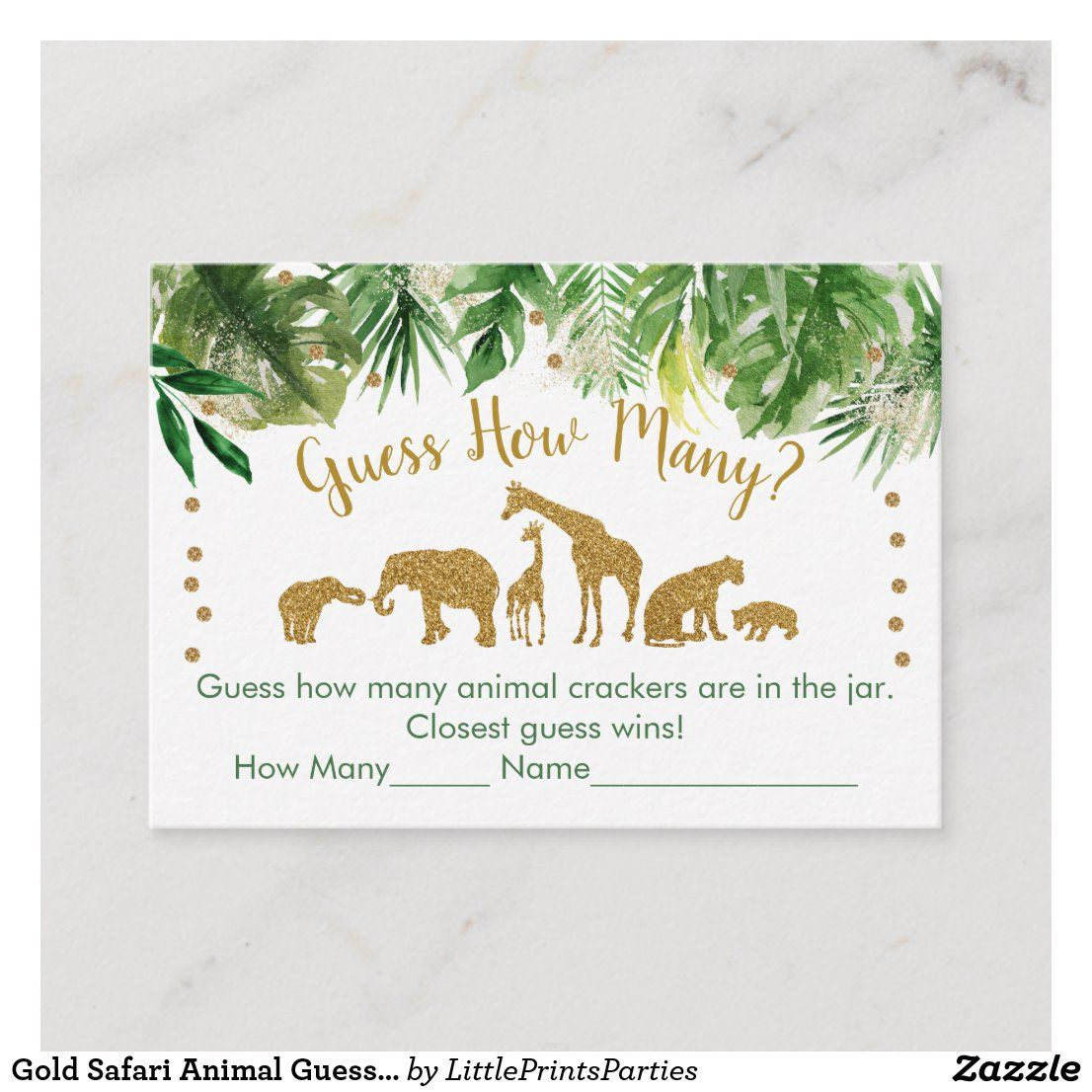 Gold Safari Animal Guess How Many Baby Shower Game Place Card