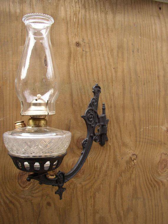 Sconce And Oil Lamp Lamps, Vintage Wood Oil Lamp Holder