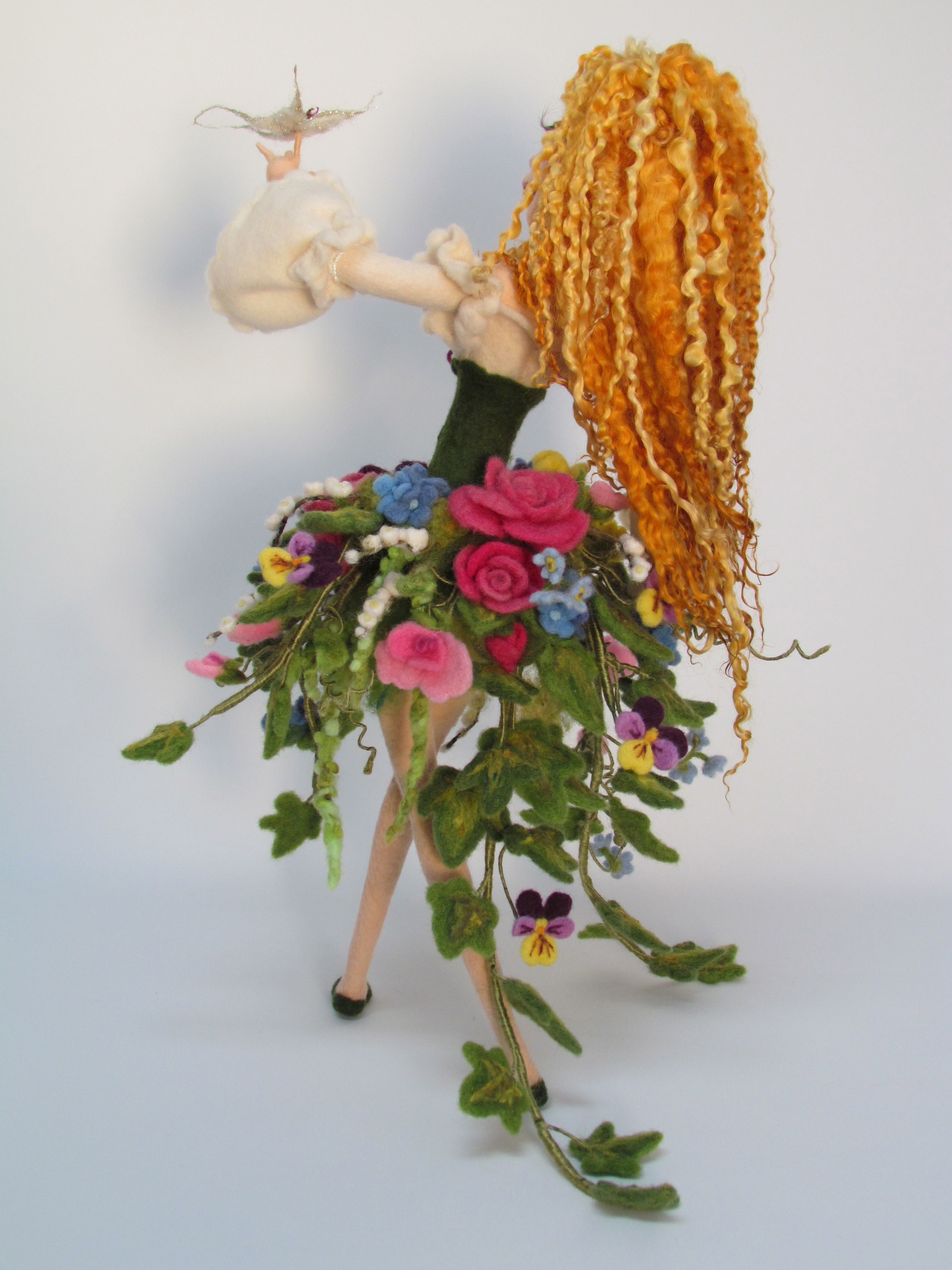back view - needle felt doll. Lovely extreme teeswater curly locks - about 12 inches long.