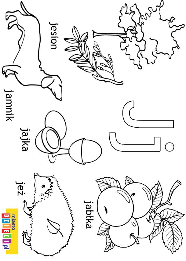 Alfabet Litera J Kolorowanki Malowanki Dla Dzieci Do Druku