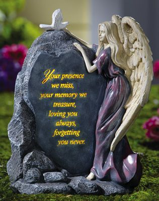 Precious Angel Lighted Memorial Stone Memorial Garden
