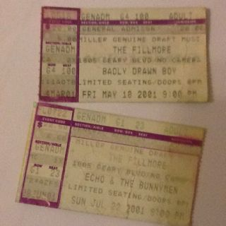 Concert tickets - The Fillmore - San Francisco 2001
