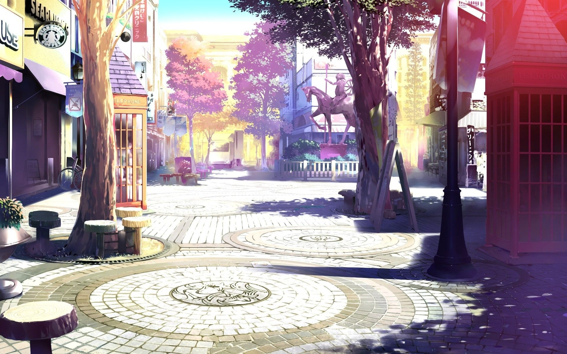 Anime 1920x1200 Drawing Artwork Landscape City Architecture Town Square Anime Anime Scenery Scenery Wallpaper Beautiful Scenery Wallpaper