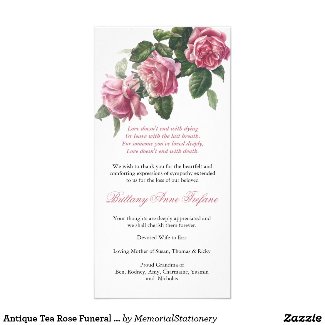 Antique Tea Rose Funeral Thank You Funeral Thank You Cards