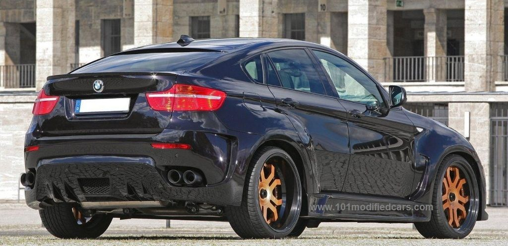 Modified Bmw X6 E71 Black Colour Suv With 23 Inch Gold Painted