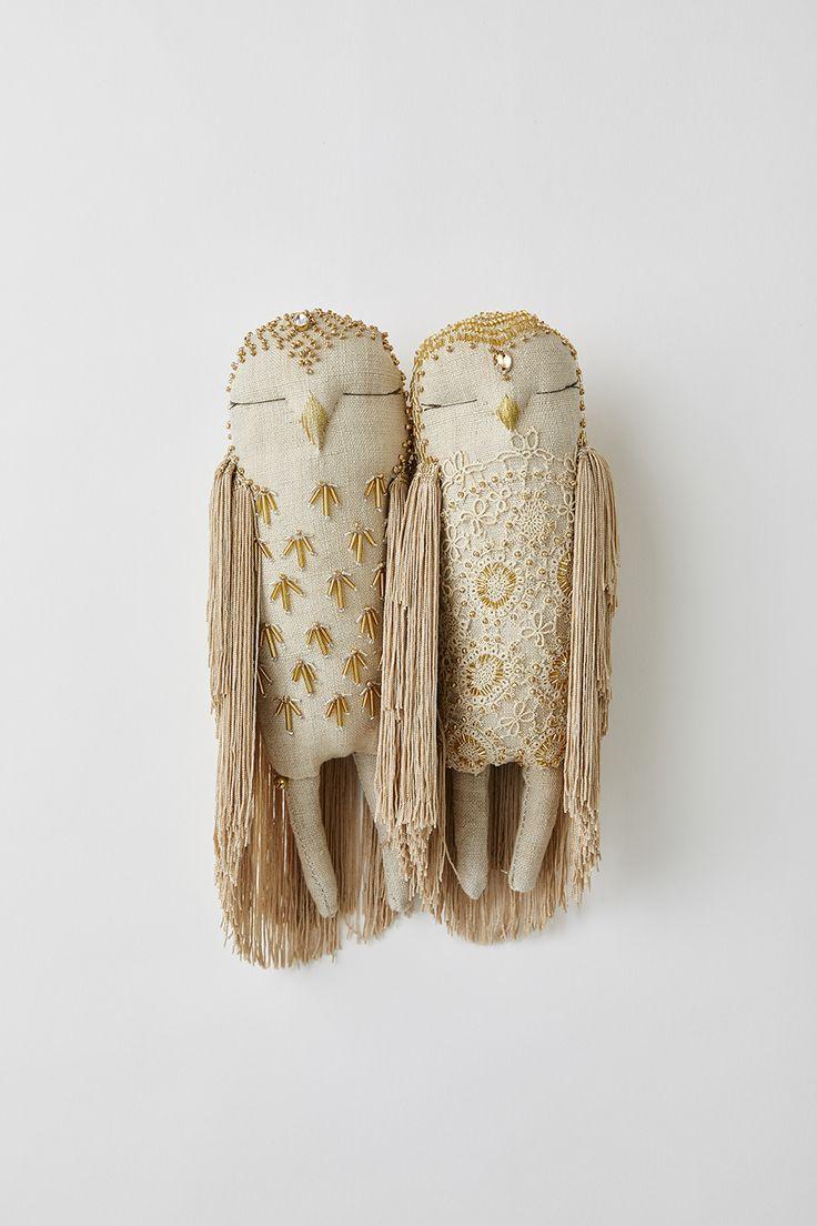 Couplet de hibou doré   – Broderie – Embroidery