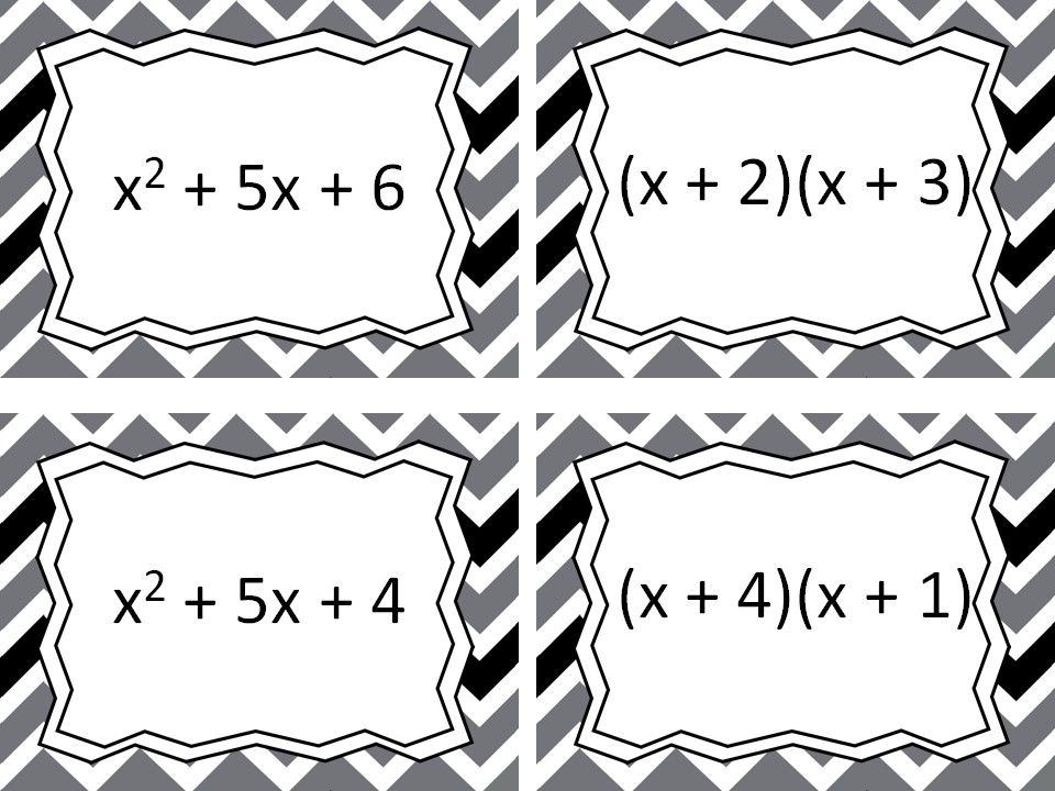 Factoring Trinomials Task Cards Activities and Games
