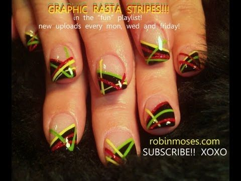 Easy Rasta Nails Robin Moses Reggae French Manicure Nail