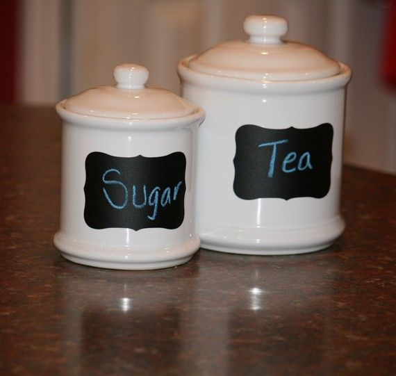 Find Some Inexpensive Kitchen Jars With A Little Chalkboard Spray Paint You Got These Personalized
